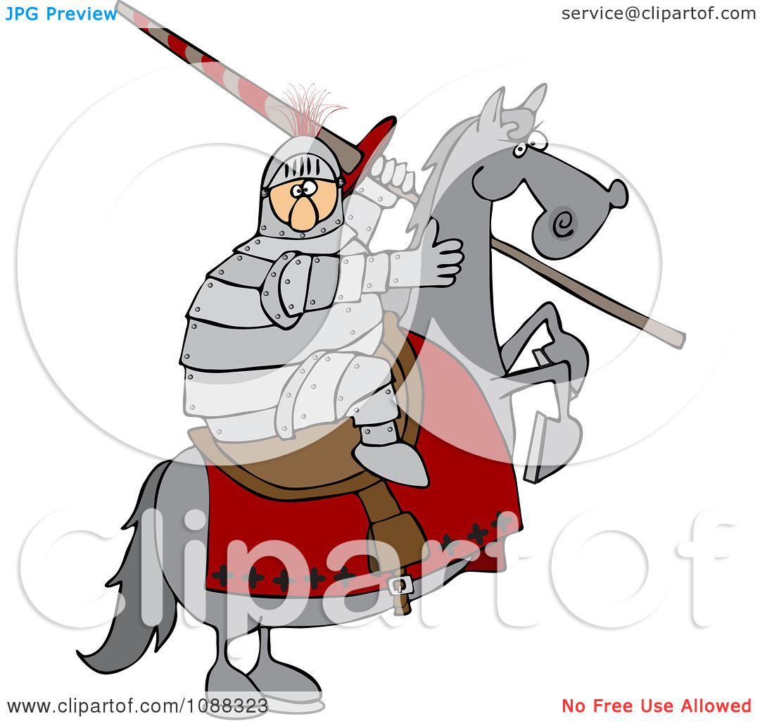 clipart medieval jousting knight holding a lance on a rearing