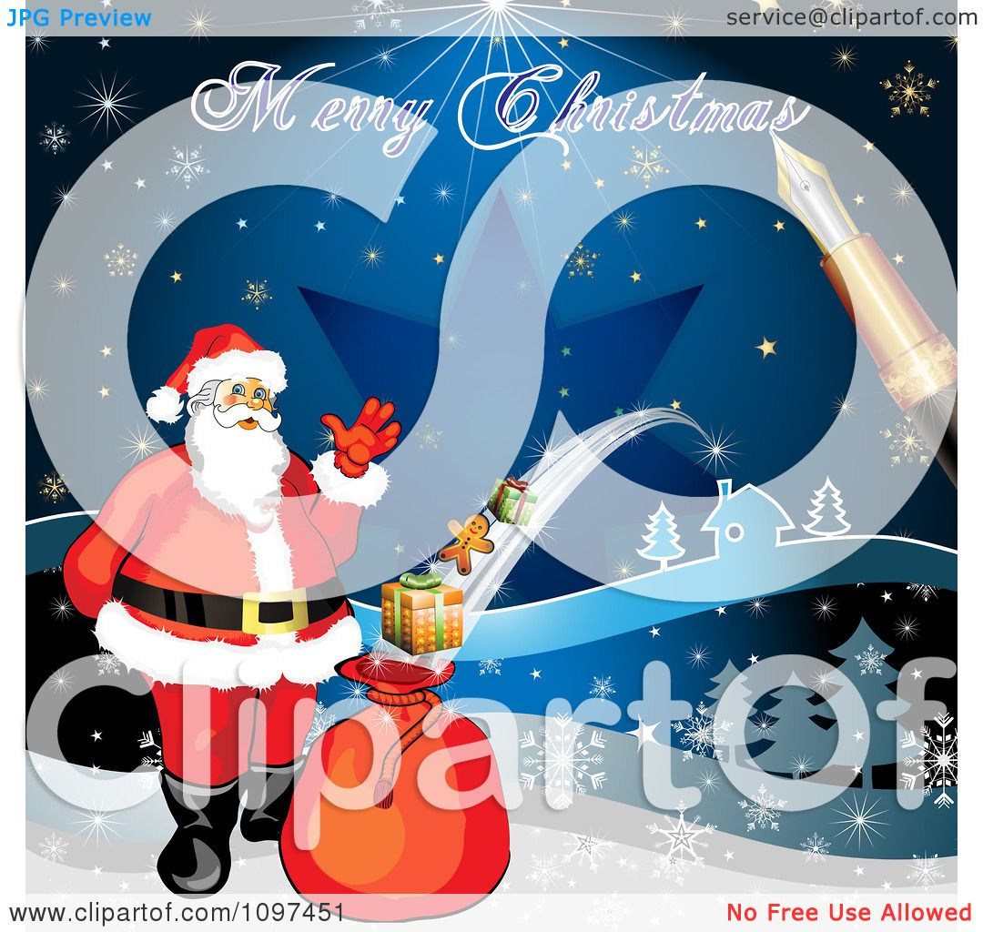 Clipart merry christmas greeting drawn by a pen over santa with a clipart merry christmas greeting drawn by a pen over santa with a magic gift sack royalty free vector illustration by merlinul m4hsunfo