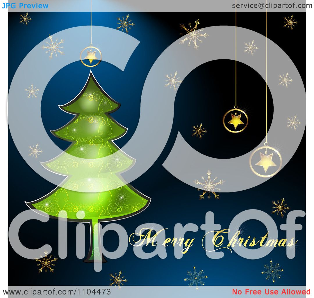 Clipart Merry Christmas Text With A Tree Star Ornaments And Gold Snowflakes  On Blue  Royalty Free Vector Illustration By Merlinul
