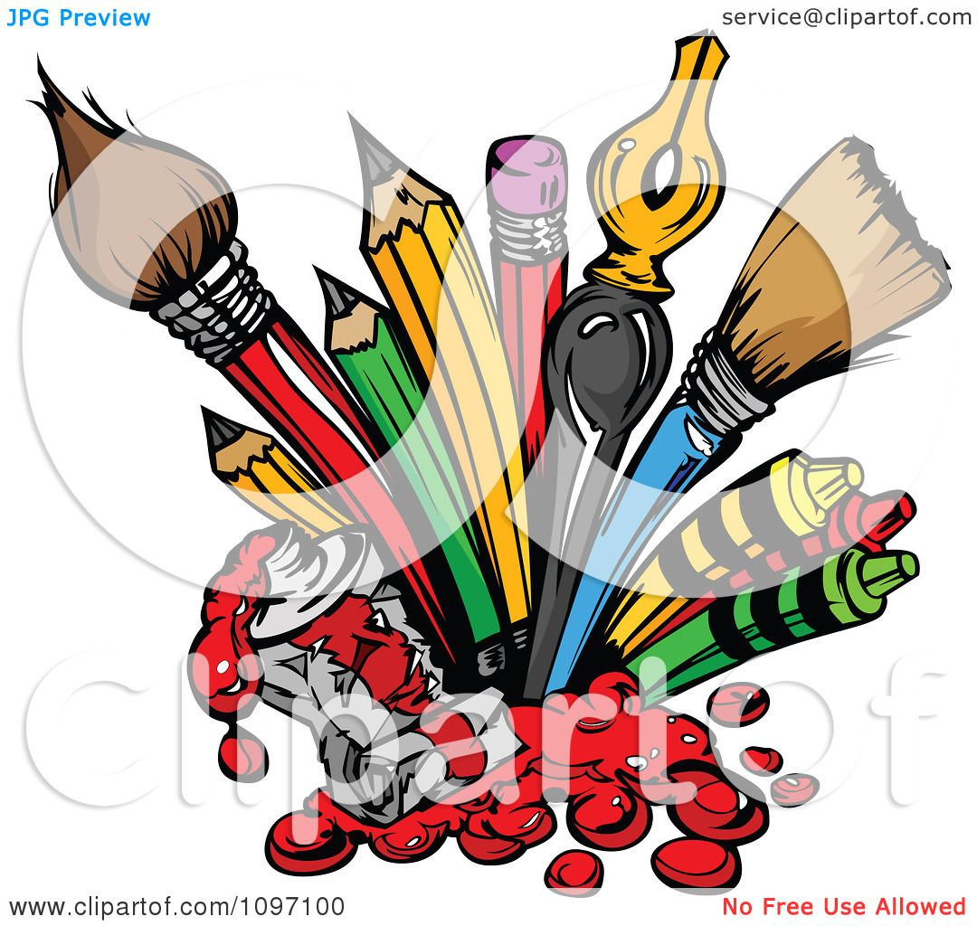 Clipart Messy Spilling Red Tube Of Paint And Art Supplies