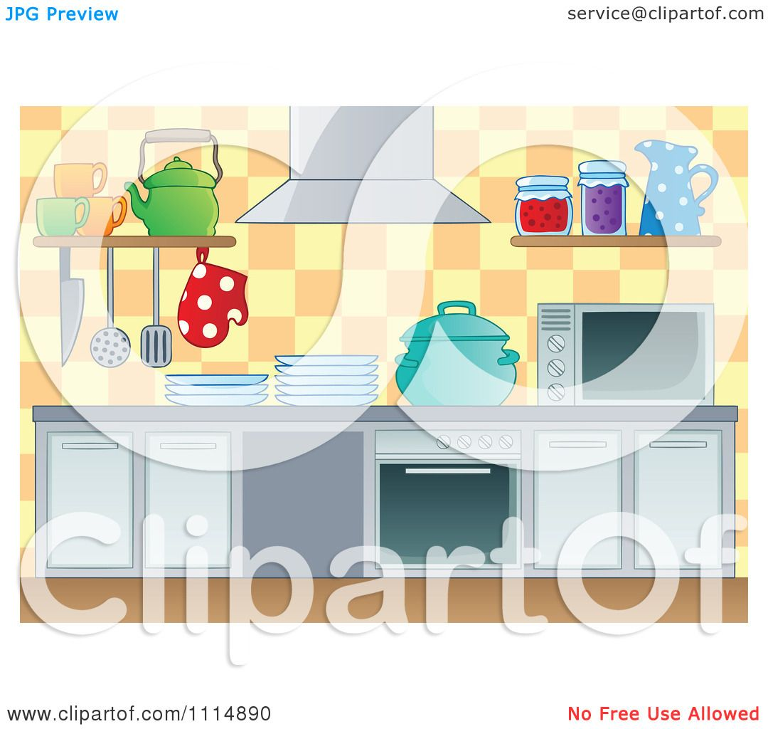 Clipart Modern Kitchen With Appliances Royalty Free Vector Illustration By Visekart 1114890