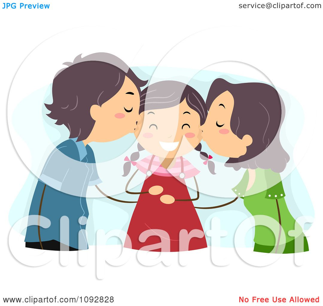 Clipart Mom And Dad Kissing Their Daughter On Her Cheeks