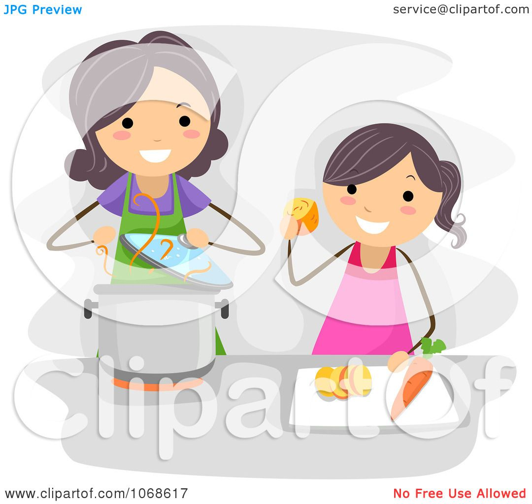 Clipart Mom And Daughter Cooking