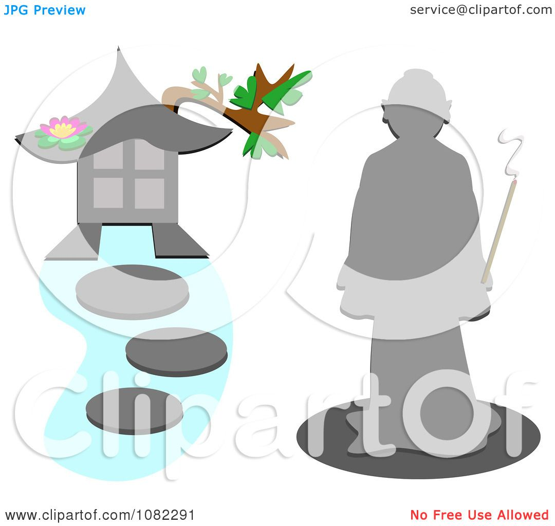 Stepping Stones Clip Art : Clipart monk by a pagoda with stepping stones royalty
