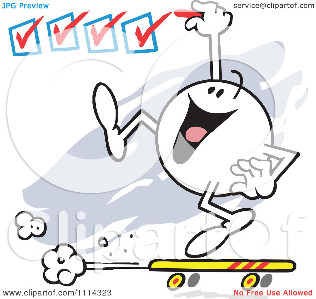 Clipart Moodie Character On A Roll Checking Off Boxes
