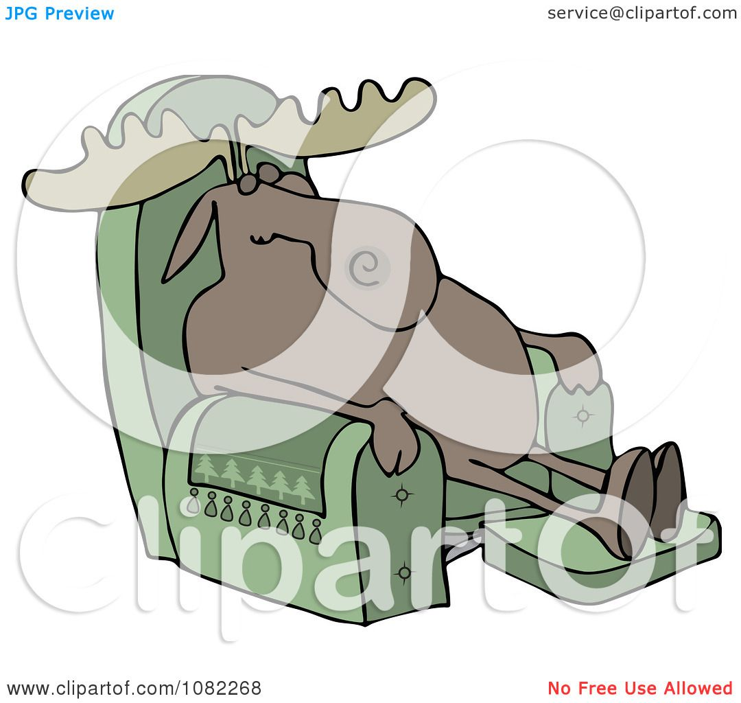 clipart moose sleeping in a recliner chair royalty free vector by djart