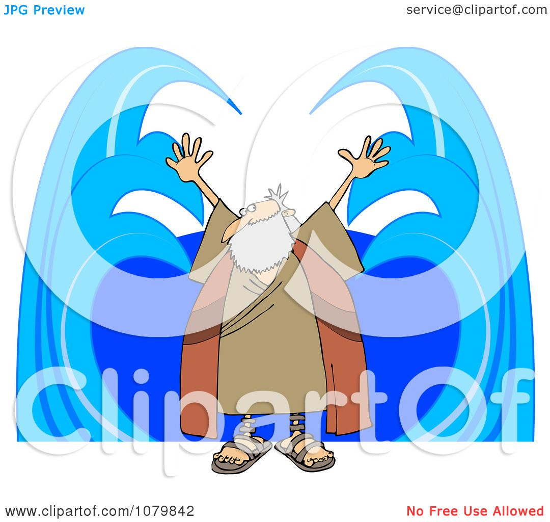Clipart Moses Parting Water - Royalty Free Vector Illustration by ...