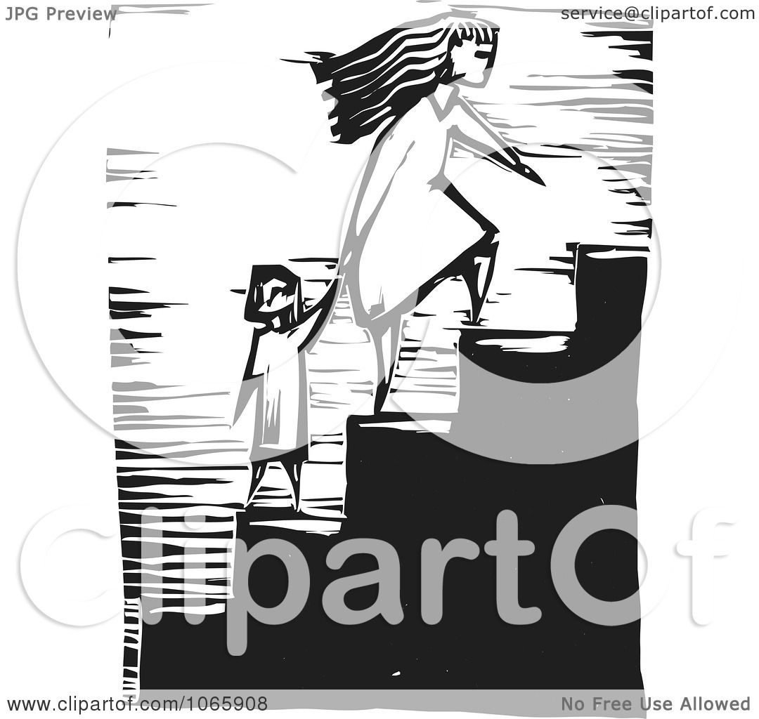 Clipart Mother Leading Her Child Up Stairs - Royalty Free Vector ...