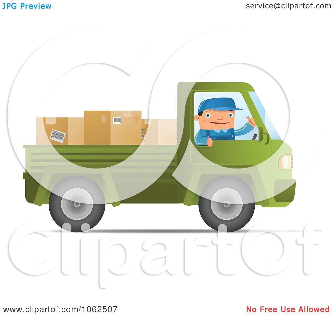 Green truck clipart royalty free rf pickup truck clipart - Clipart Mover Driving A Green Pickup Truck Royalty Free Vector Moving Illustration By Qiun