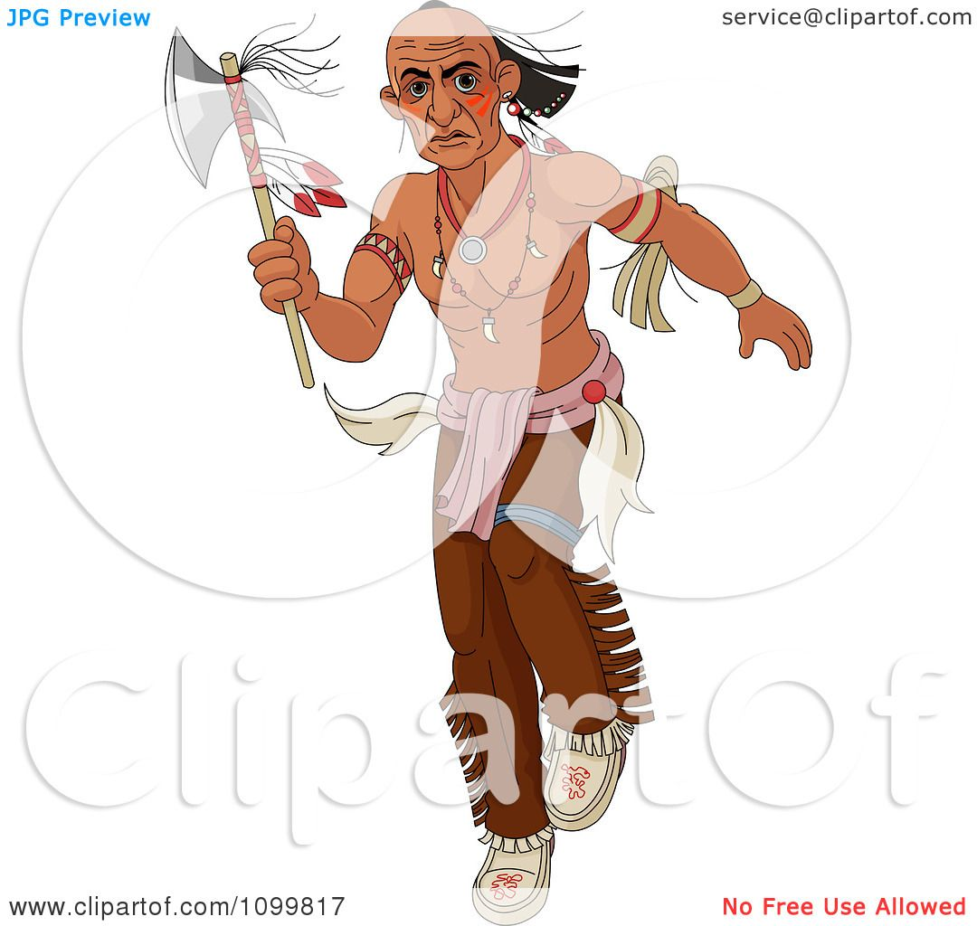 clipart native american man stalking with a tomahawk axe royalty