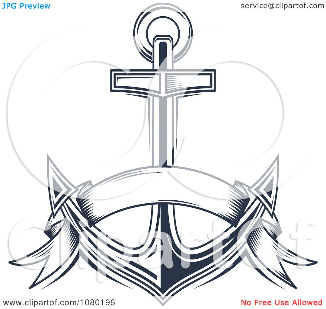 Clipart Navy Blue Banner And Anchor - Royalty Free Vector ...