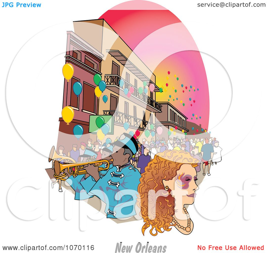 Clipart New Orleans Mardi Gras Street Scene Royalty Free