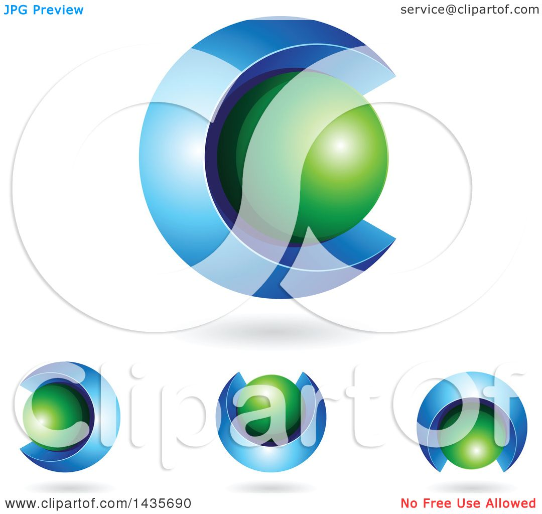 Clipart Of 3d Abstract Sphere Letter C Designs With