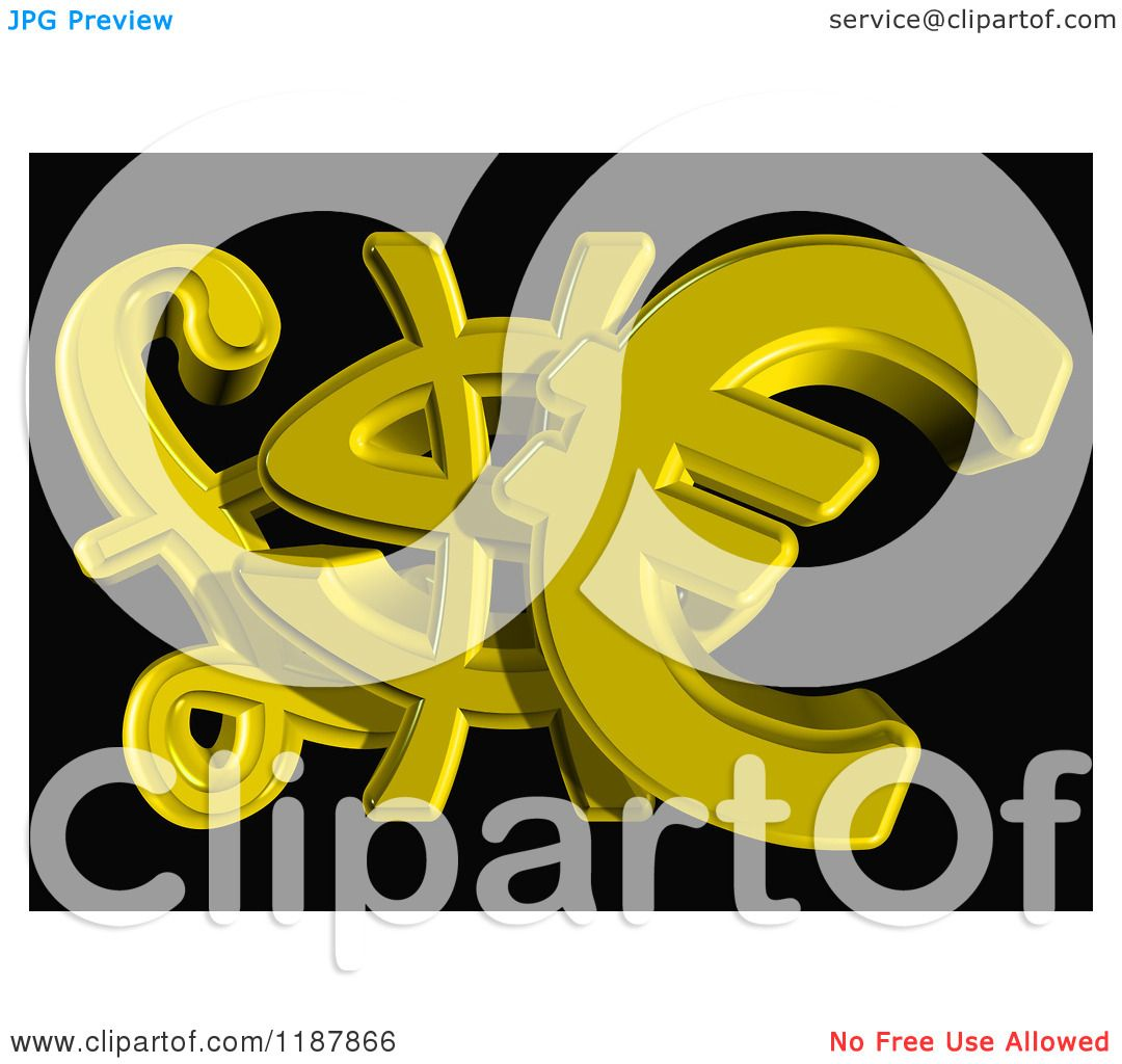 Clipart Of 3d Golden Euro Dollar And Lira Currency Symbols On Black