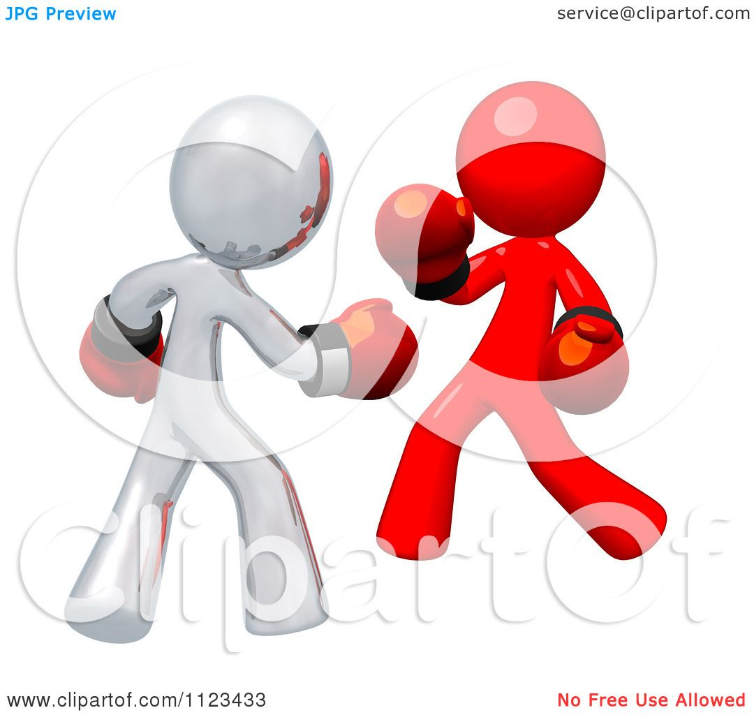 Clipart Of 3d Red And Silver Boxers Fighting - Royalty Free CGI ...