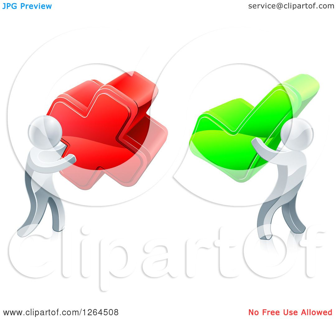 Deciding stock illustrations royalty free gograph - Clipart Of 3d Right And Wrong Silver Men With X And Check Marks Royalty Free Vector