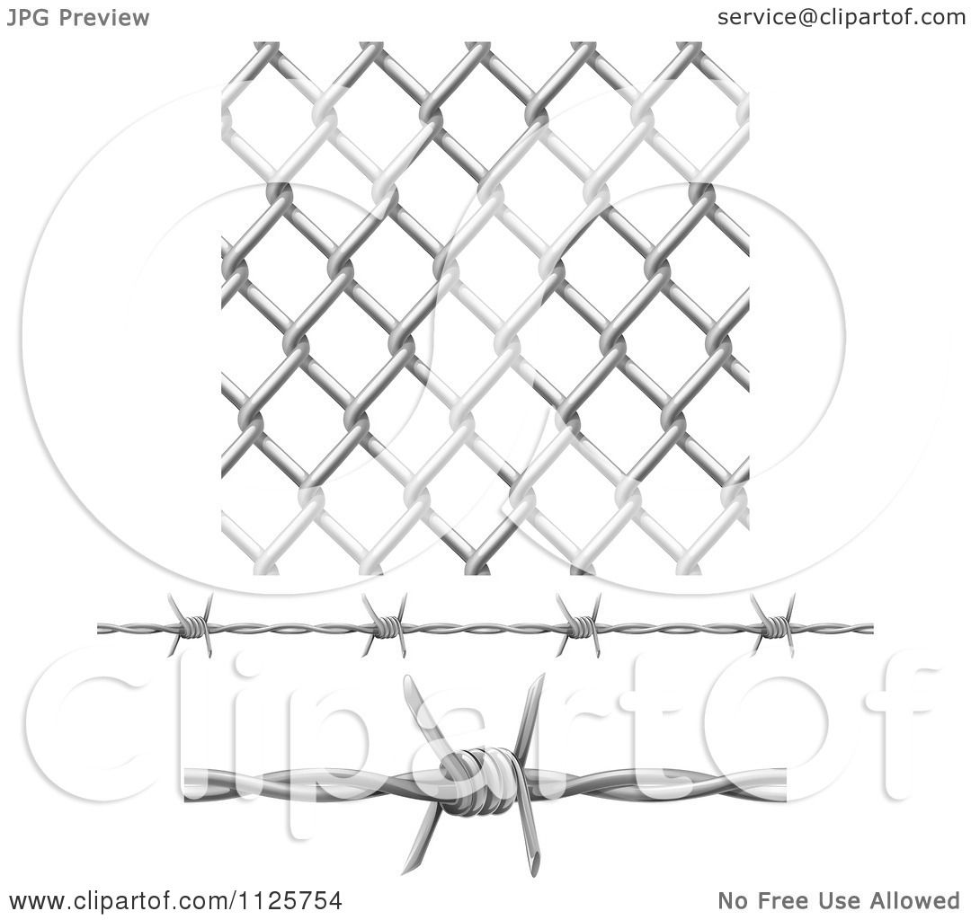 clipart of 3d seamless chainlink fence and barbed wire elements