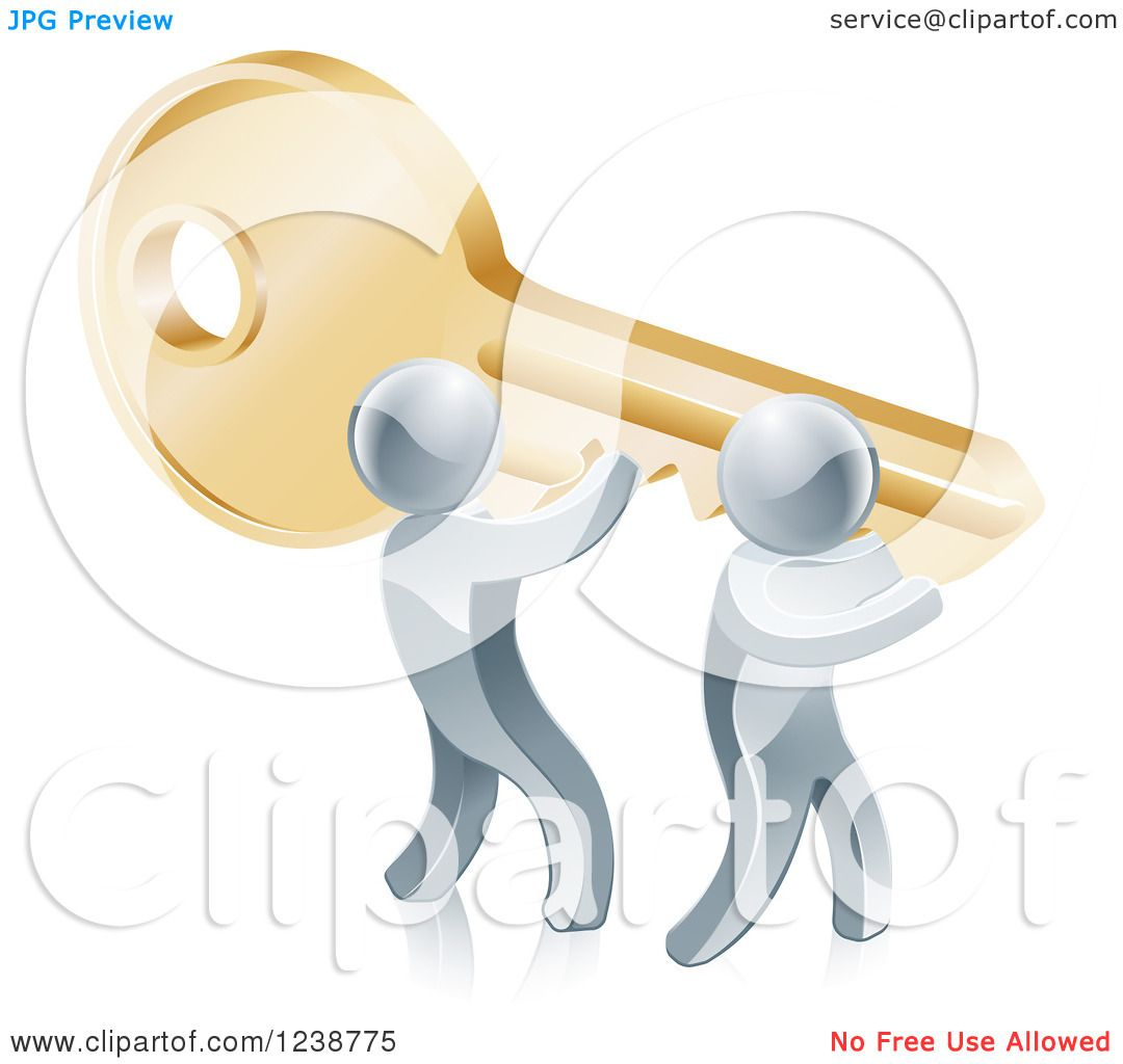 Clipart of 3d Silver Men Carrying a Giant Key to Success - Royalty ...