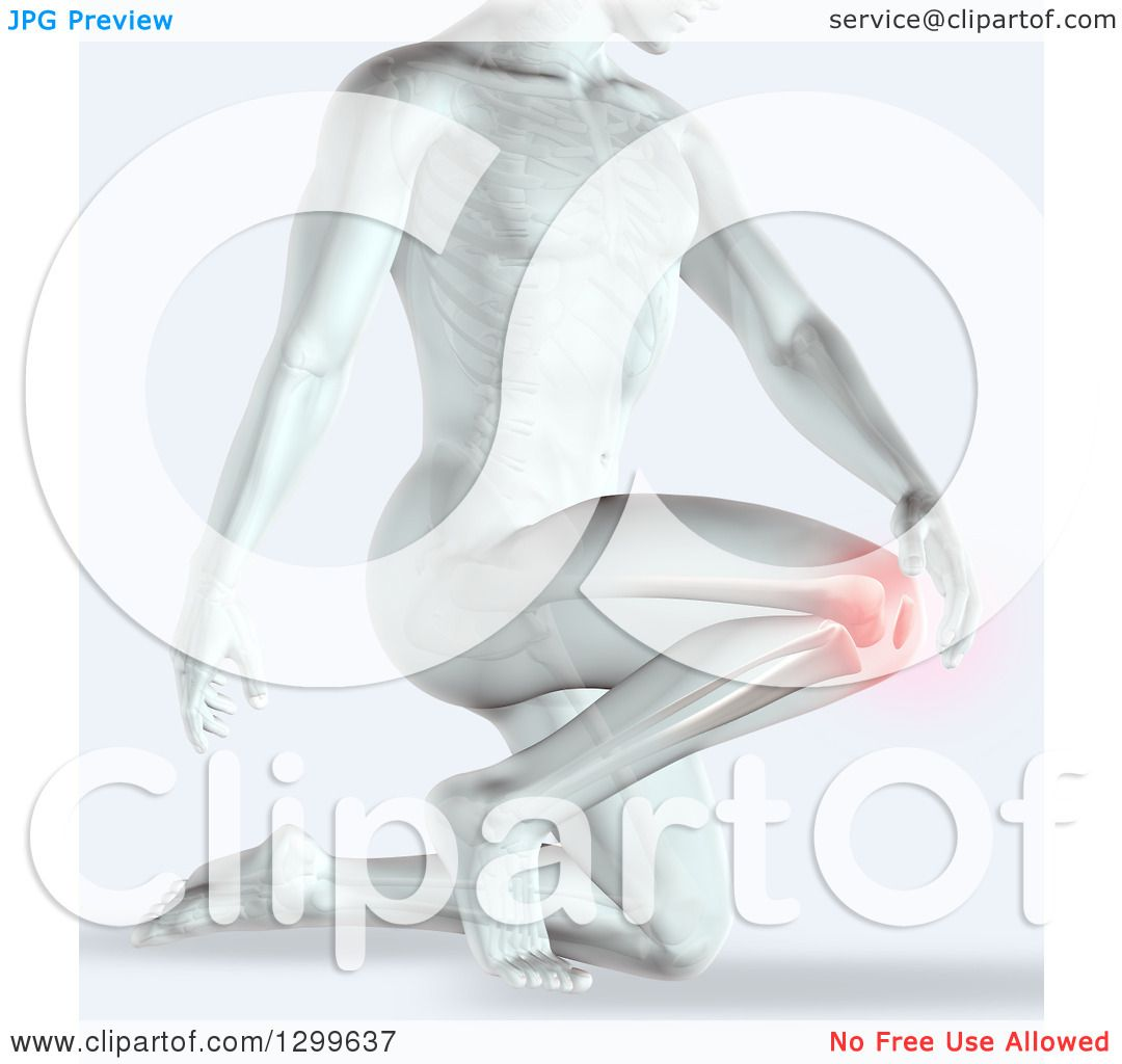 Clipart Of A 3d Anatomical Xray Man Kneeling With