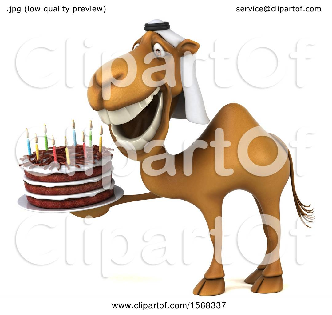 Clipart Of A 3d Arabian Camel Holding A Birthday Cake On A White