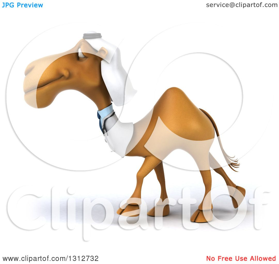 clipart of a 3d arabian doctor camel walking to the left royalty rh clipartof com