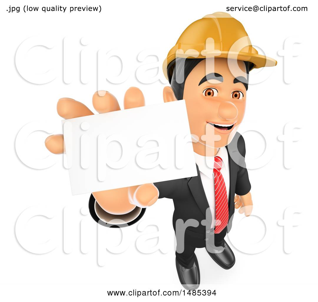 Clipart of a 3d Architectural Engineer Holding up a Business Card ...