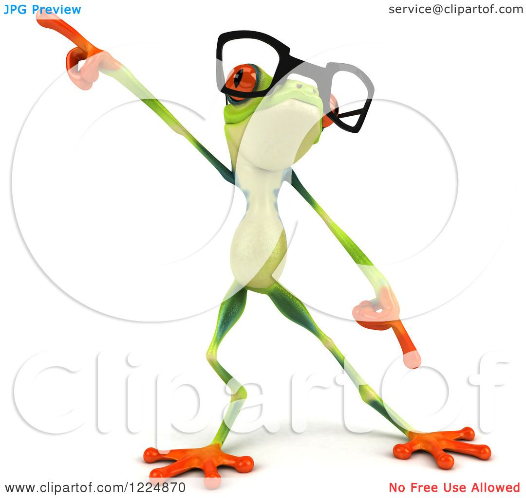 Clipart of a 3d Argie Frog Wearing Glasses and Dancing - Royalty ...