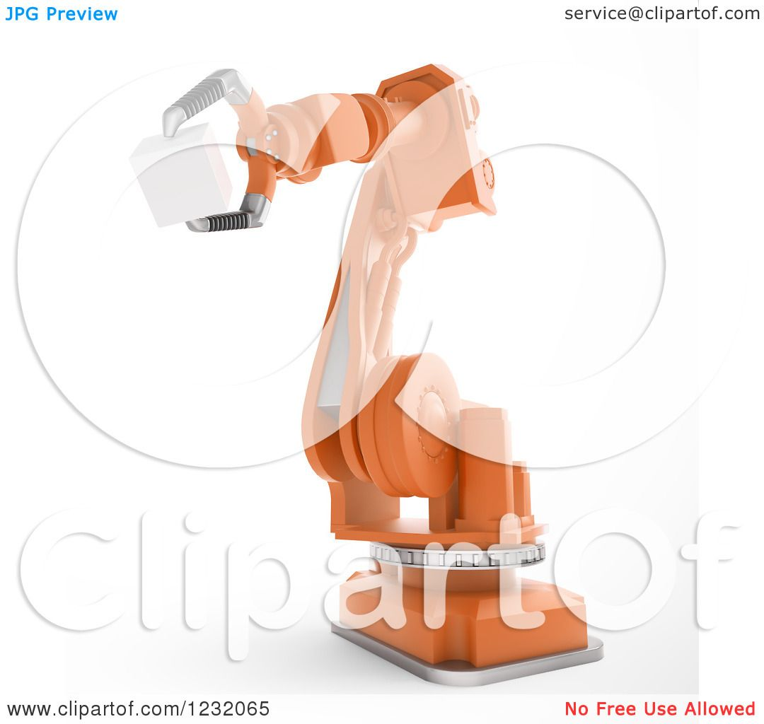 Clipart of a 3d Assembly Robotic Arm Holding a Cube, on White