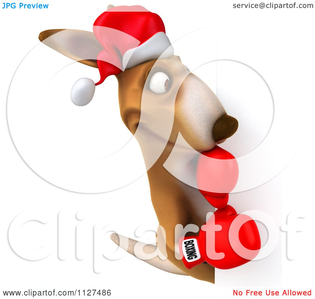 Clipart Of A 3d Aussie Christmas Kangaroo Boxer With A ...