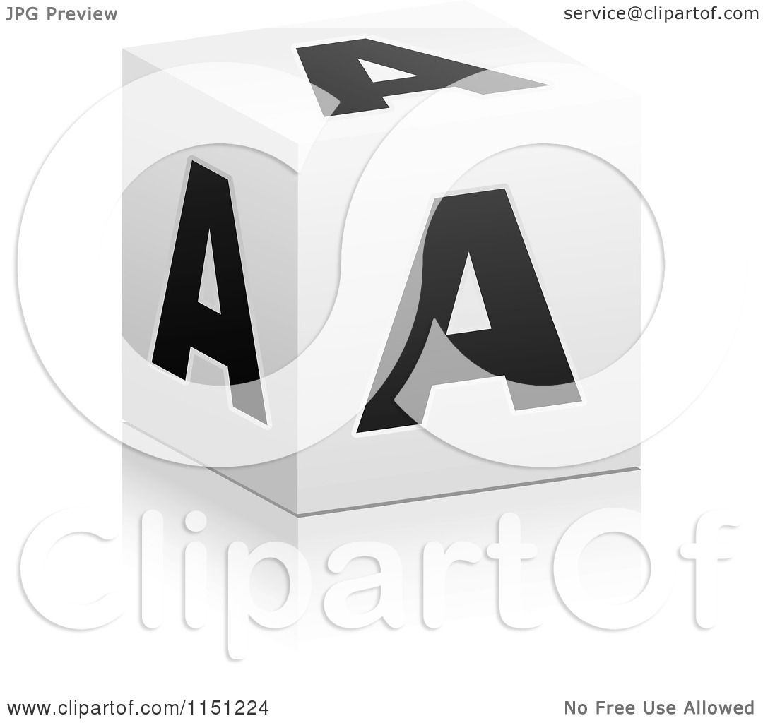 Clipart of a 3d Black and White Letter a Cube Box Royalty Free