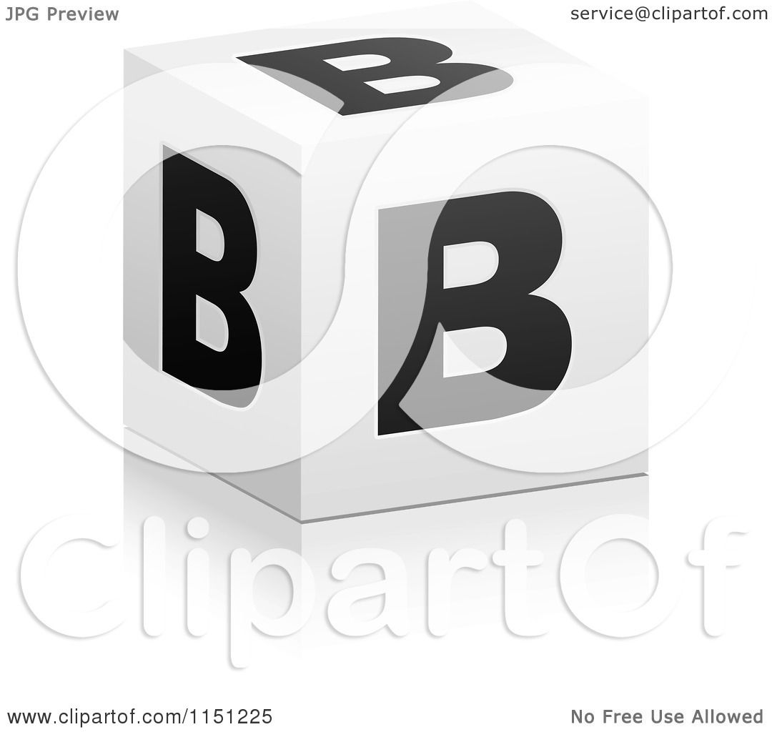 B Cube clipart of a 3d black and white letter b cube box - royalty free