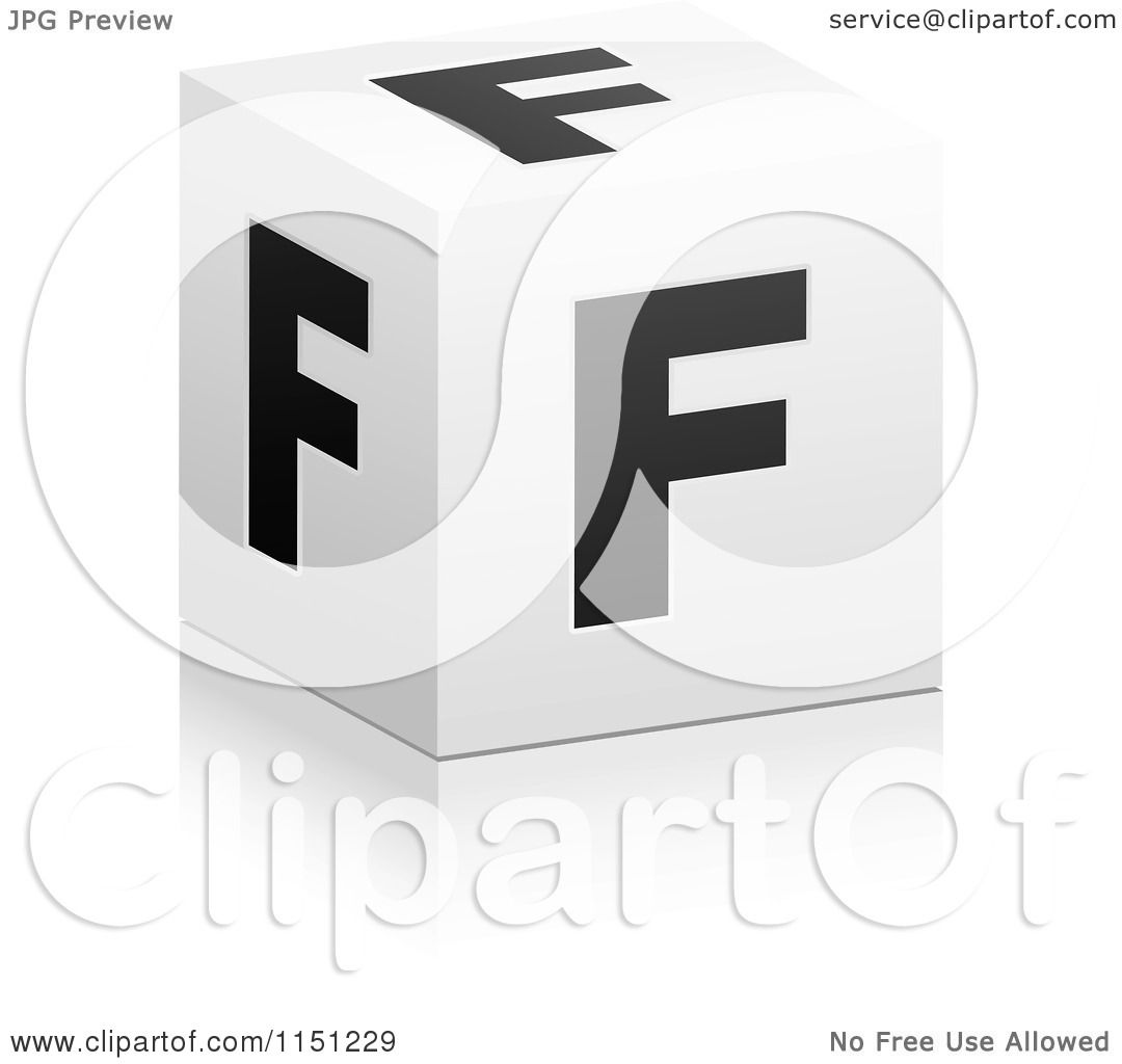 clipart of a 3d black and white letter f cube box - royalty free