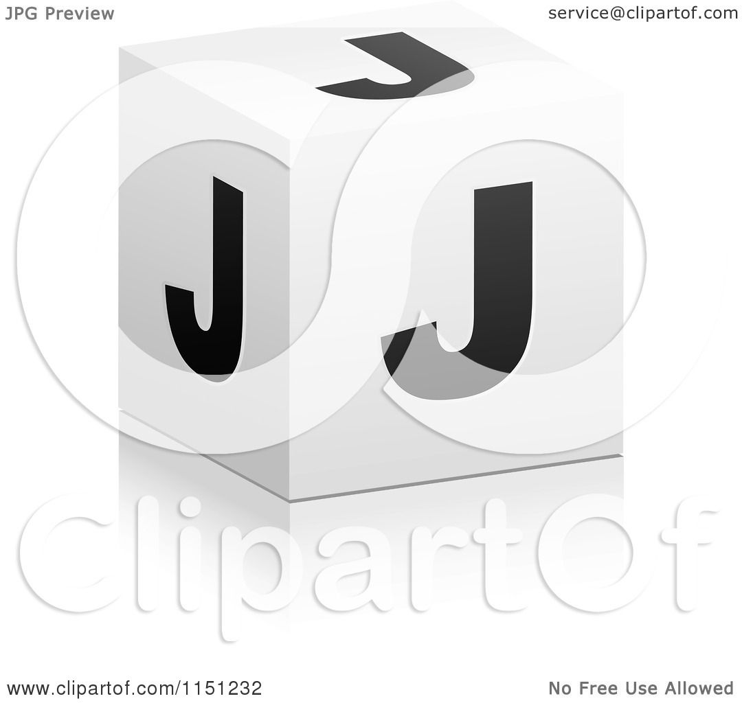 Clipart Of A 3d Black And White Letter J Cube Box Royalty Free