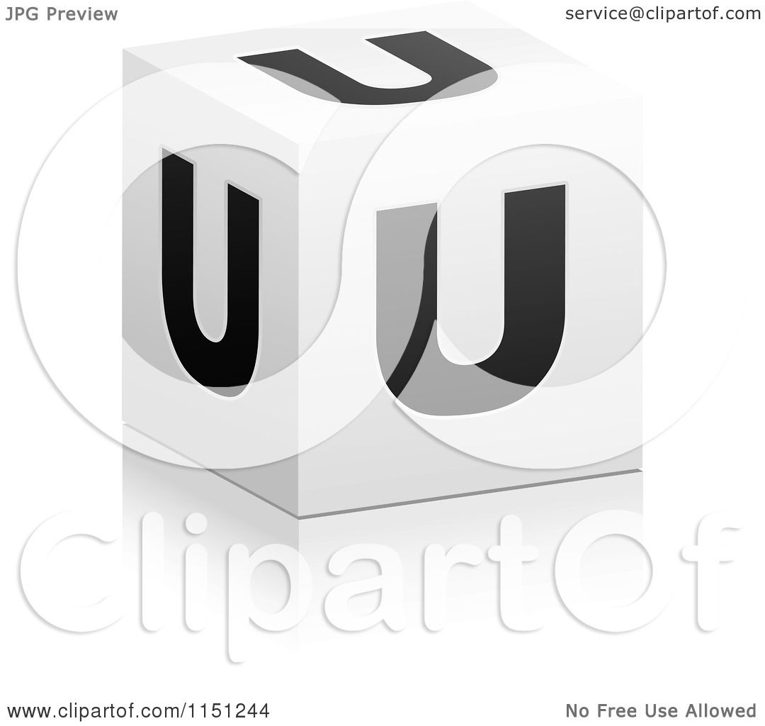clipart of a 3d black and white letter u cube box - royalty free