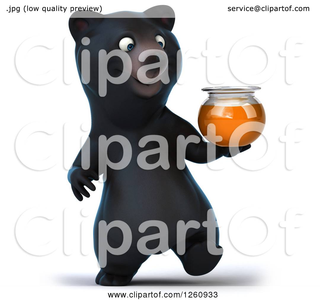 Clipart of a 3d Black Bear Walking with a Honey Jar ...