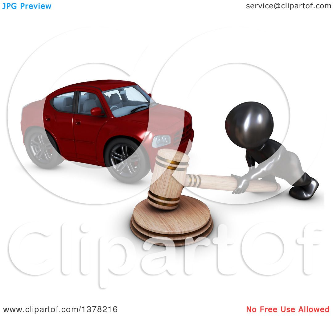 Clipart of a 3d Black Man Auctioneer Banging a Gavel by a Car, on ...