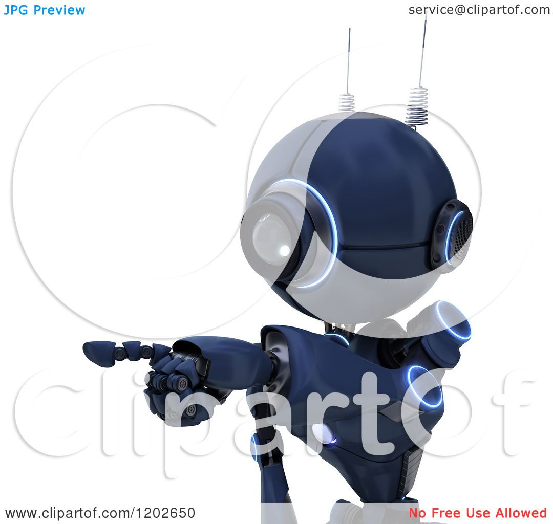 Clipart of a 3d Blue Android Robot Pointing to the Left - Royalty Free ...
