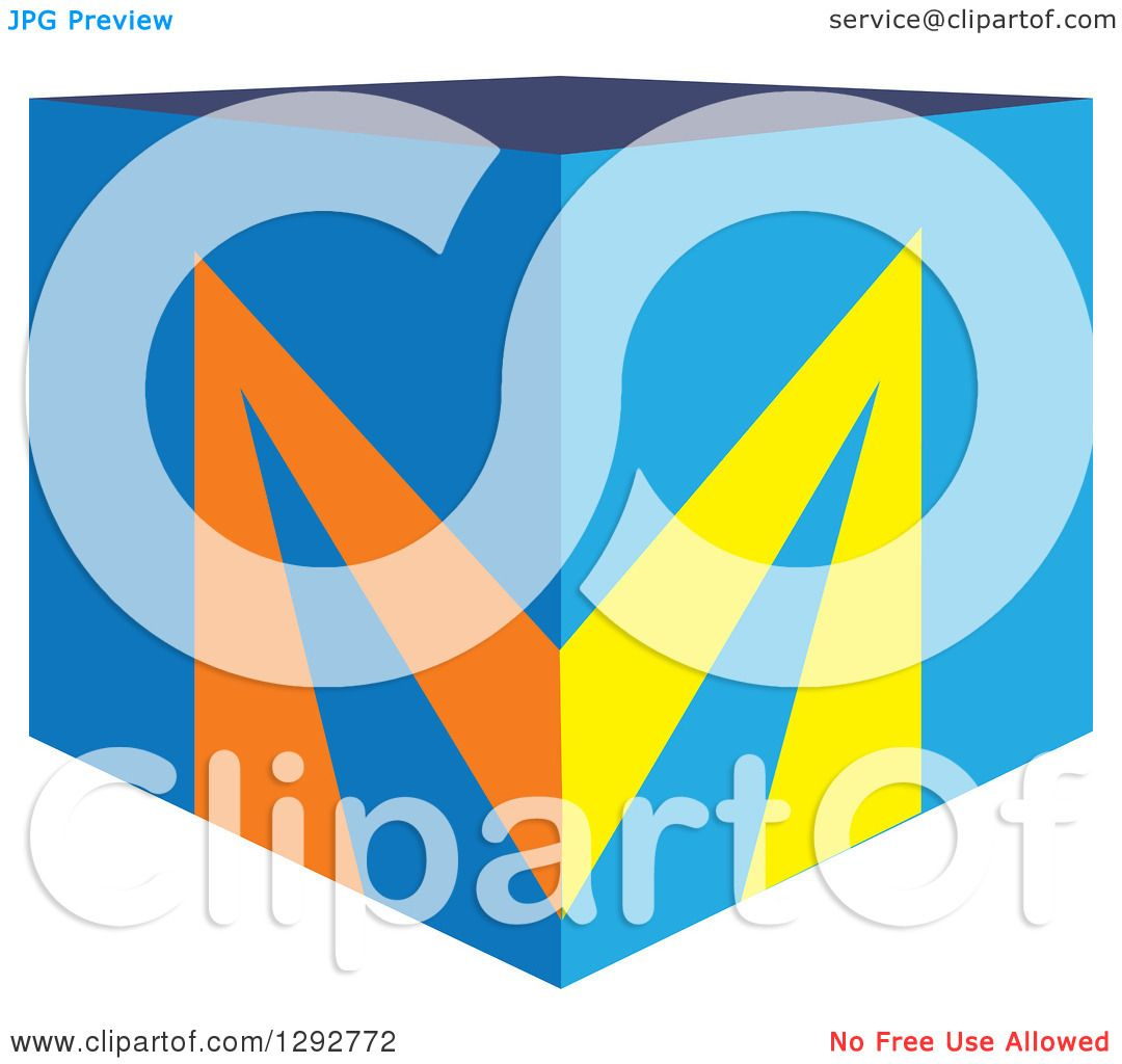 Clipart Of A 3d Blue Cubic Box And Letter M On The Corner Royalty