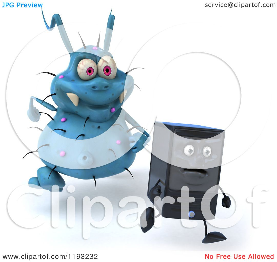Clipart of a 3d Blue Germ Virus