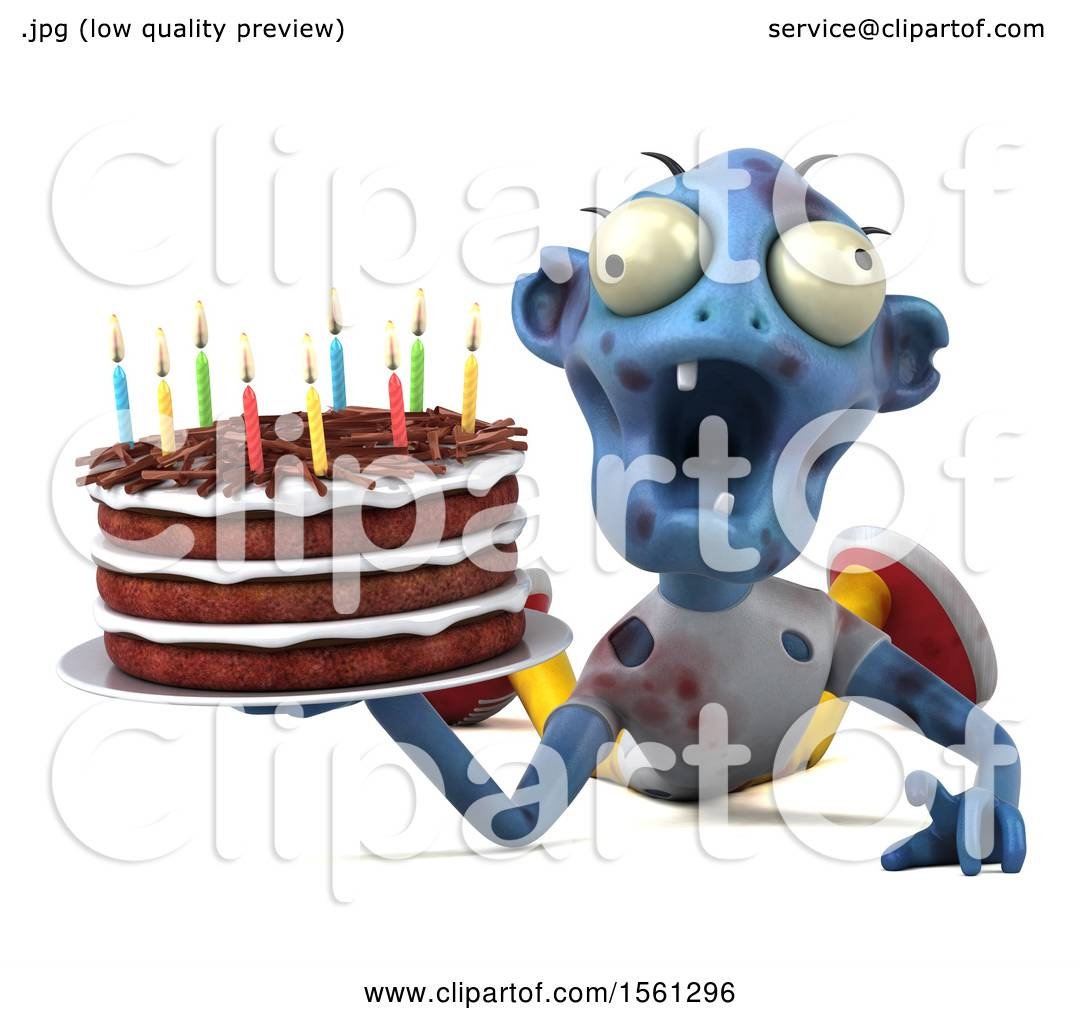 Clipart Of A 3d Blue Zombie Holding Birthday Cake On White Background