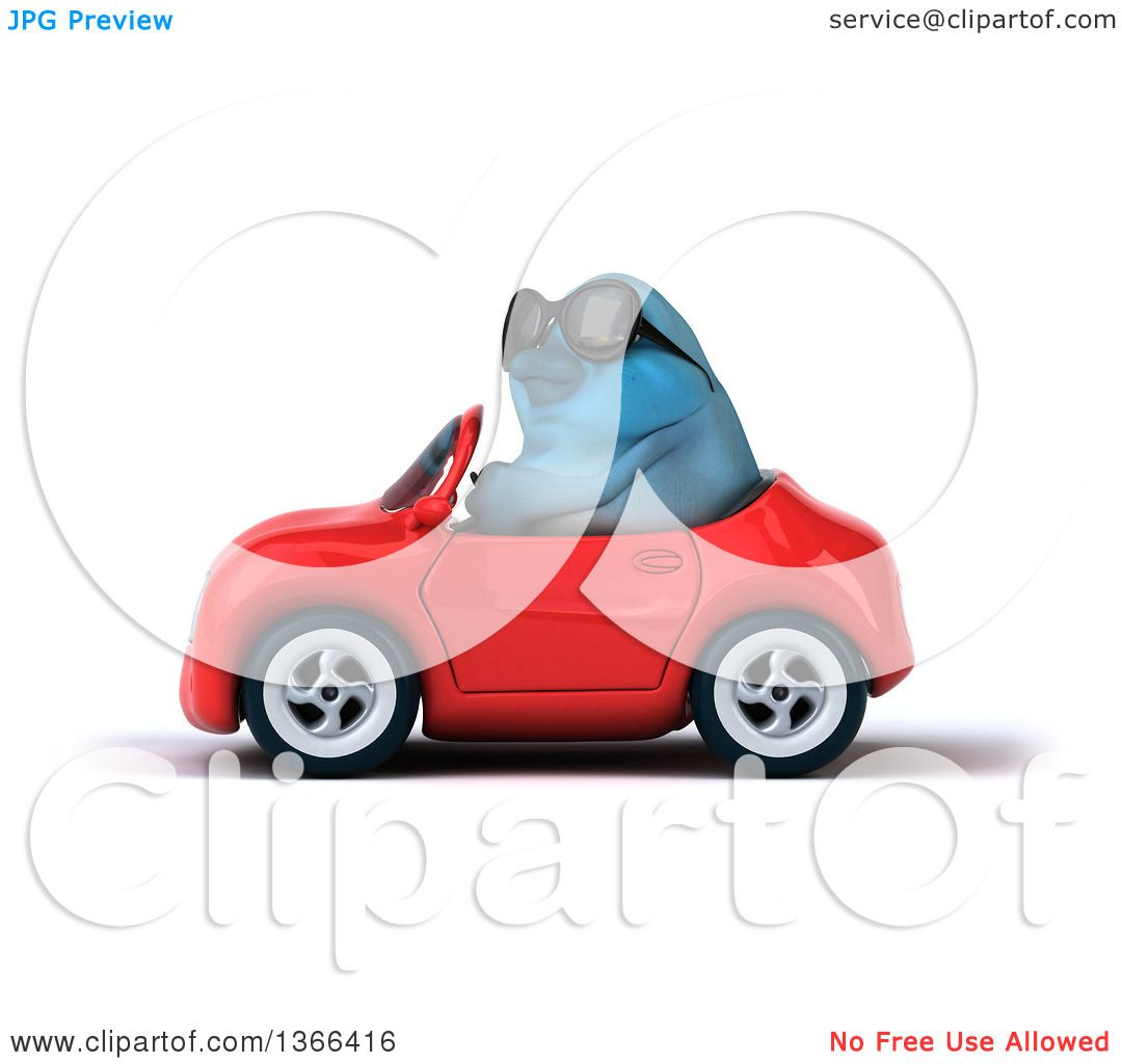 Clipart of a 3d Bluebird Wearing Sunglasses and Driving a Red ...
