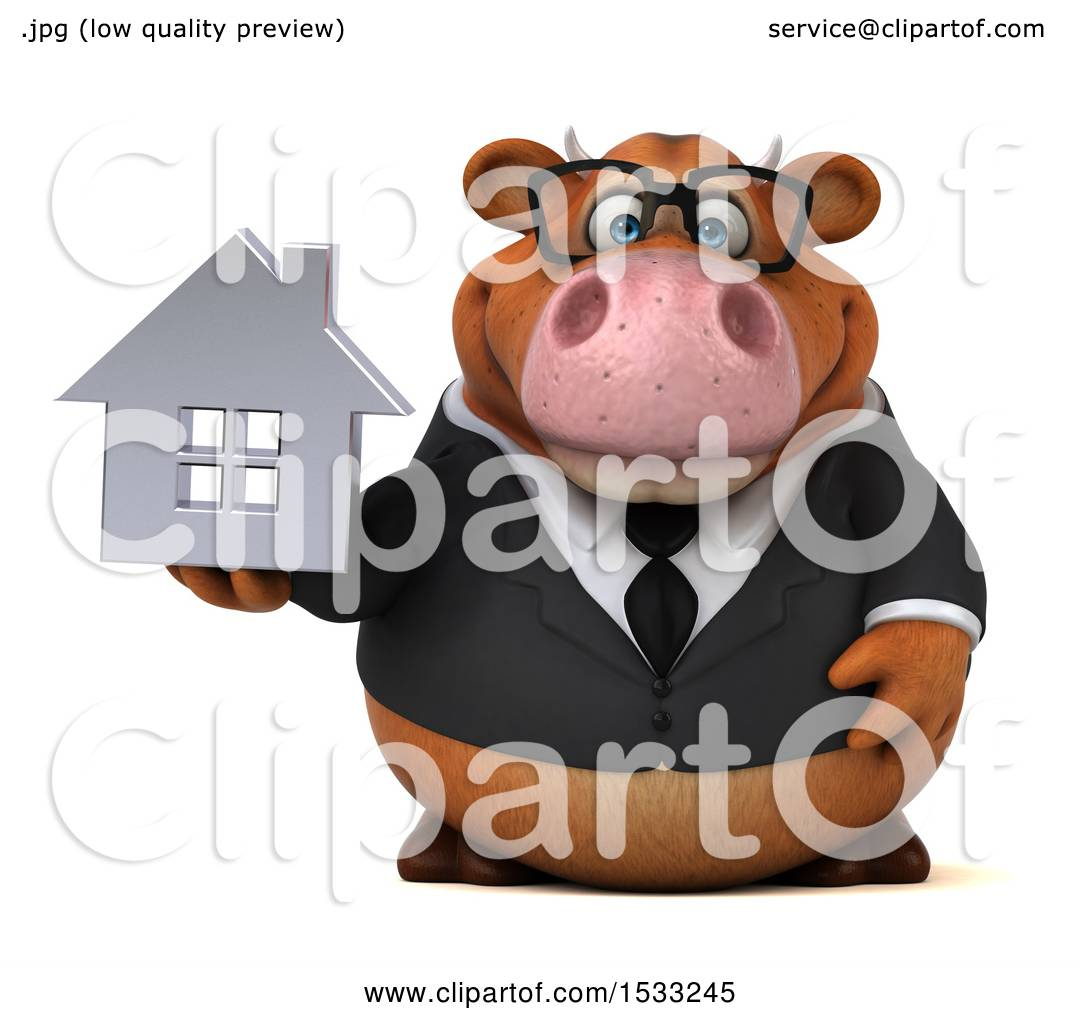 Clipart Of A 3d Brown Business Cow Holding House On White Background