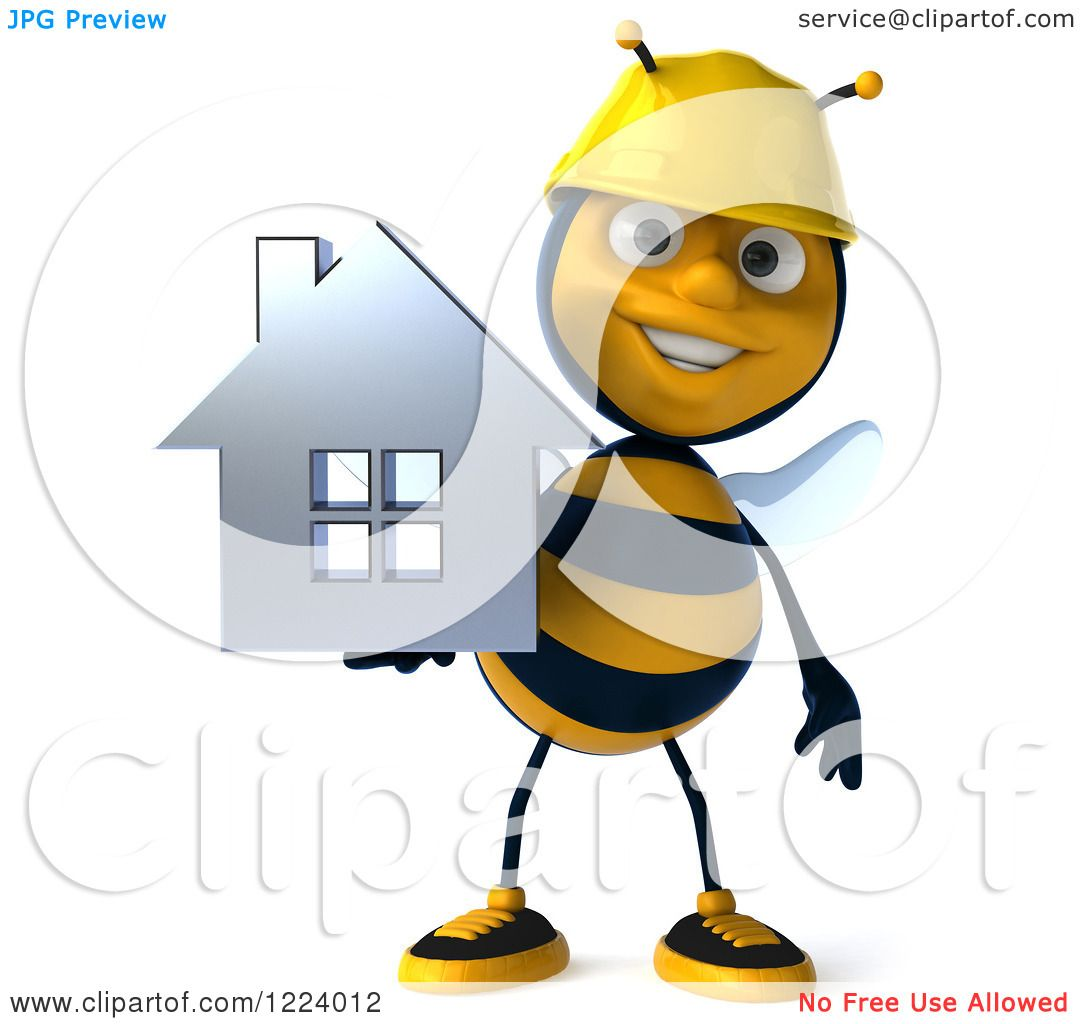 Clipart Of A 3d Builder Bee Holding House