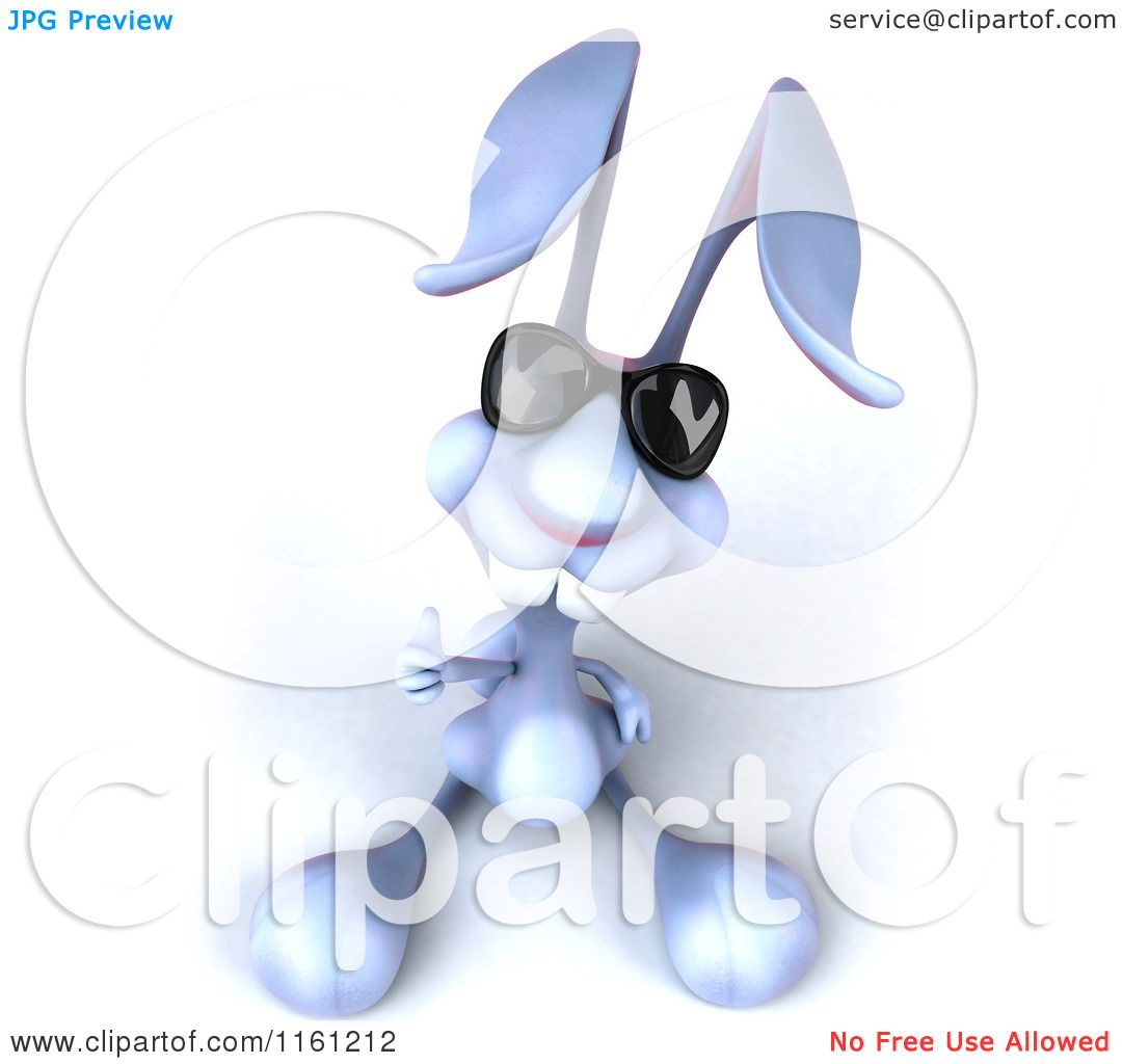Clipart Of A 3d Bunny Rabbit Wearing Sunglasses And