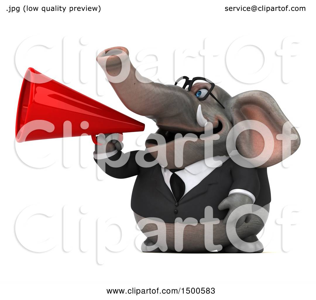 Clipart of a 3d Business Elephant Using a Megaphone, on a ...