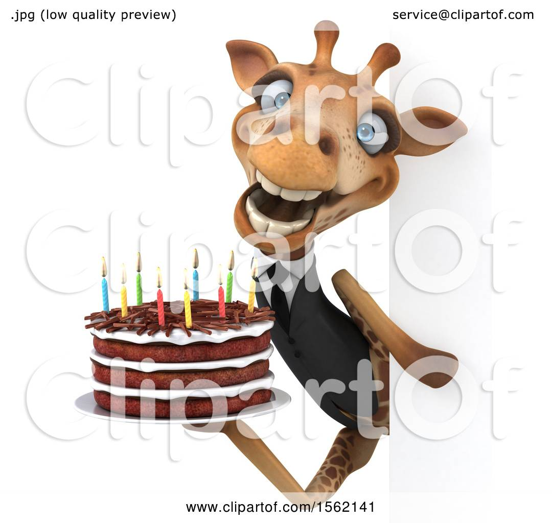 Clipart Of A 3d Business Giraffe Holding A Birthday Cake On A White