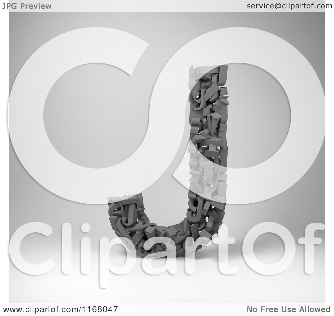 Clipart Of A 3d Capital Letter J Composed Of Scrambled