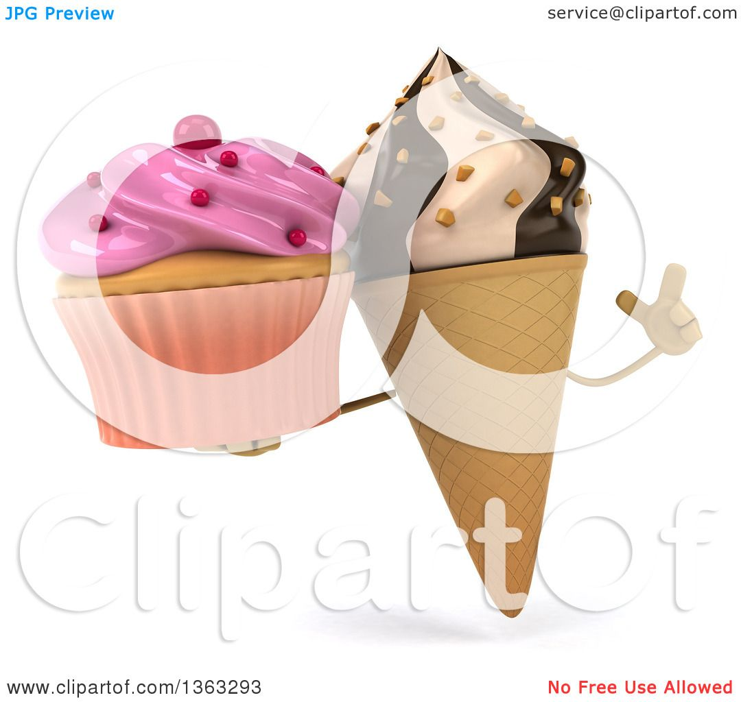Icecream Cone Cupcake Wallpapers Mobile Pics: Clipart Of A 3d Chocolate And Vanilla Swirl Waffle Ice