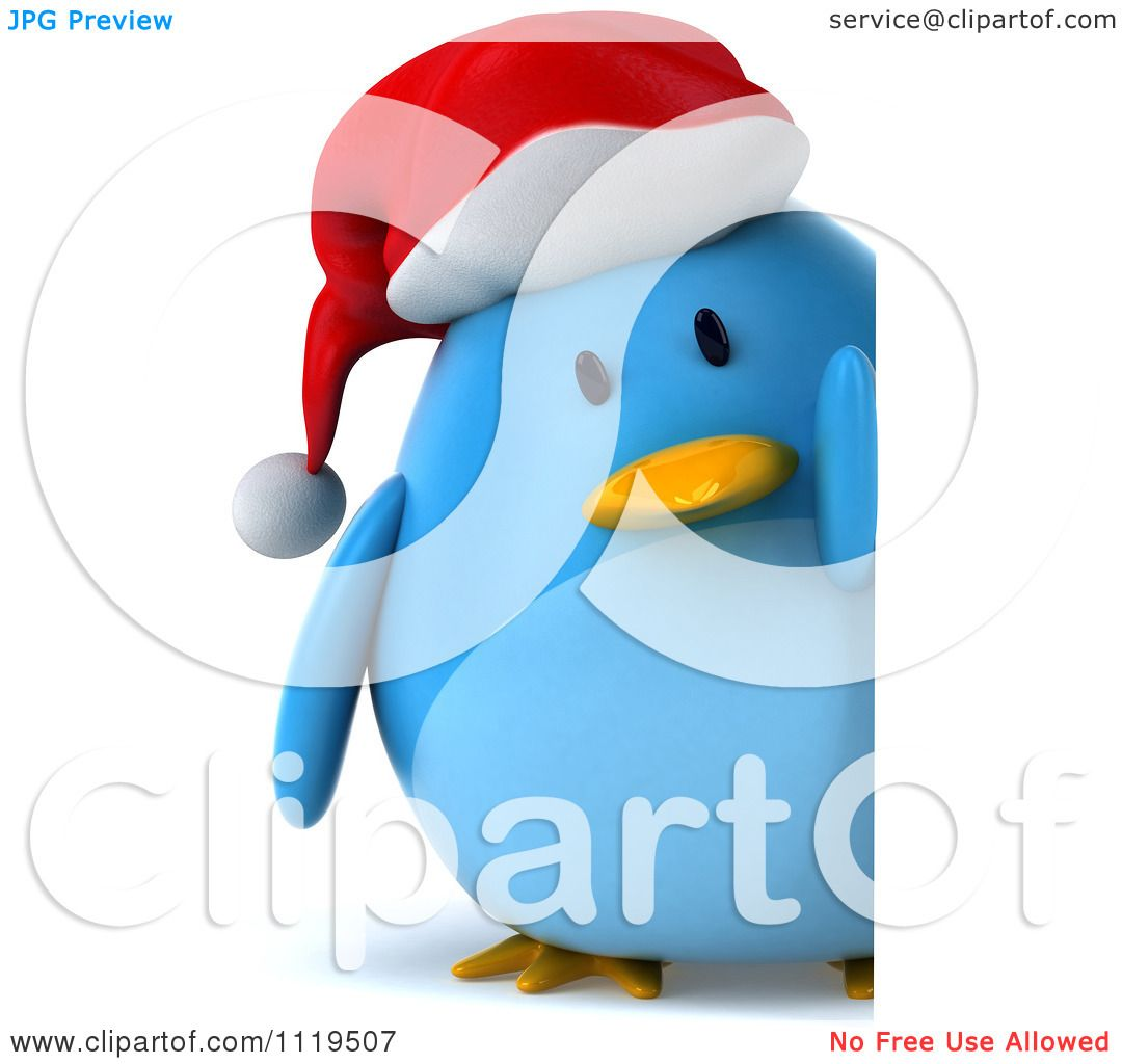 02452a8de7a80 Clipart Of A 3d Christmas Bluebird Wearing A Santa Hat And Holding A Sign 2  -