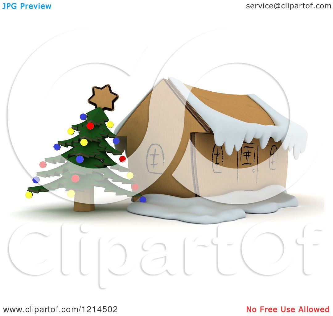 Clipart Of A 3d Christmas Craft Cardboard House With A Tree